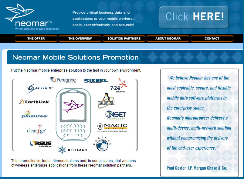 Neomar mobile services site.